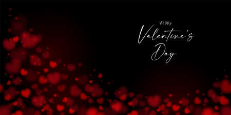 Blurred Valentine's day background. With copy space on dark background.