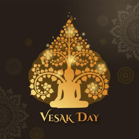 Vesak day with buddha sitting under and Thai art pattern decoration background