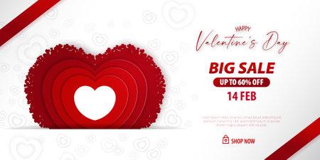 Valentine big sale promotion voucher. Red heart decorative papercut illustration Vectores