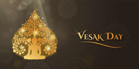 Vesak day banner and wallpaper with buddha sitting under the bodhi tree and isolated Thai art pattern decoration background