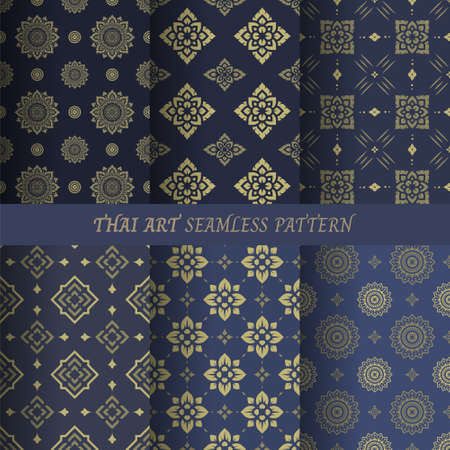 Thai flower pattern seamless wallpaper vector illustration.