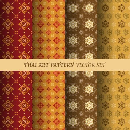 Thai flower pattern seamless wallpaper vector set illustration. Vectores