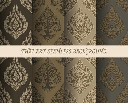 Thai pattern seamless wallpaper vector illustration.