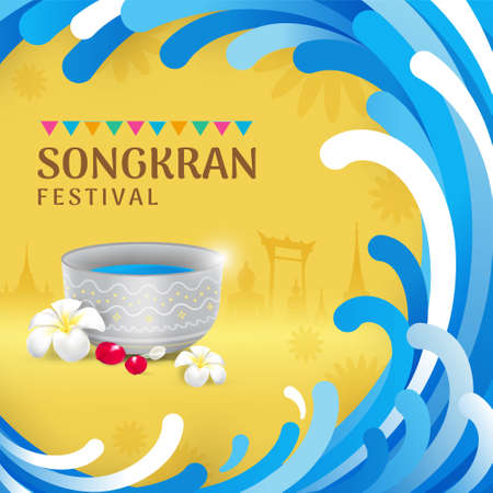 Songkran Thailand water festival banner.Water splash waves frame and copyspace with silhouette Thai landmarks, buddha and water bowl, flowers vector illustration. Vectores