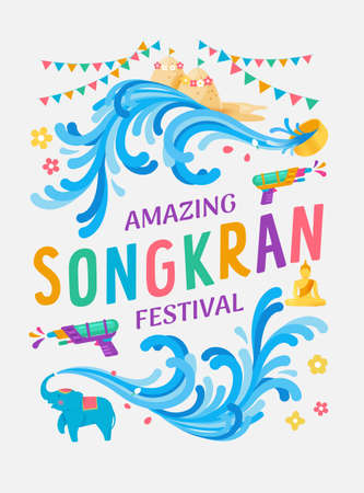 Amazing Songkran festival Thailand water splash vector illustration, Water gun and water bowl and cute elephant splashing the water celebration, Thai vintage colorful style. Vectores