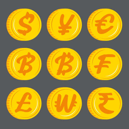 Gold coins with currency symbol icon vector. Flat design.