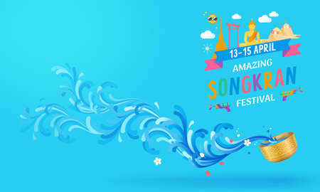 Celebration of Thailand Songkran festival background. Happiness and fun colorful concept.Thai water splashing festive vector illustration