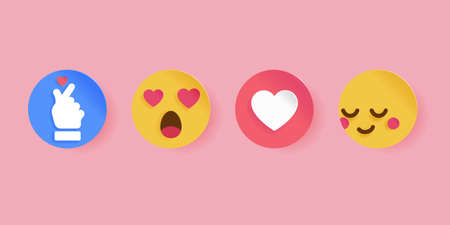 Social icon for Valentine's day. Papercut style. Emoticon for web and app online streaming and chat message.