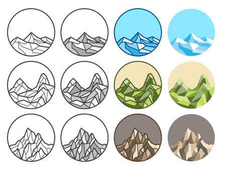 Mountain line art polygon vector illustration. Linear,shadow,colored line,flat styles. Design in round shape and copy space for decoration and logo design. Vectores