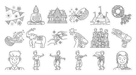 Songkran thailand festival linear icon set. Thai water splashing festive day. Vectores