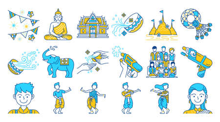 Songkran thailand festival colored line icon set.Two tone color. Thai water splashing festive day, thai dancing traditional and cultural.
