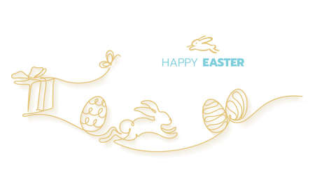 Happy easter day celebration, happiness fun rabbit running on field with gift presents and eggs continuous line art style vector illustration