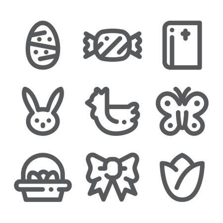 Happy easter icon set. Bold linear, line art style.