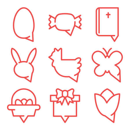 Happy easter icon set. Bubble text message thin detailed linear style.