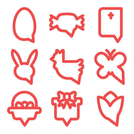 Happy easter icon set. Bubble text message bold linear style. Vectores