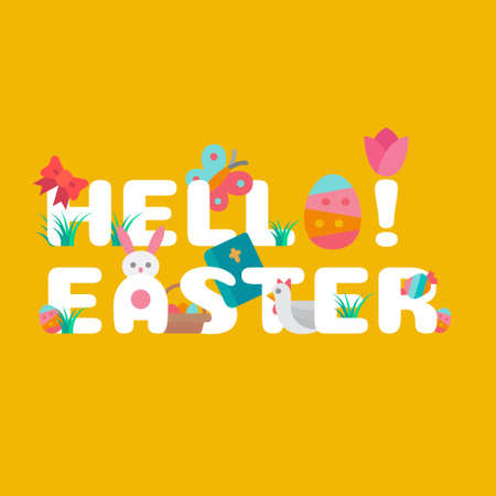 Easter typography design concept decorated with icon and elements. Flat design style vector illustration.
