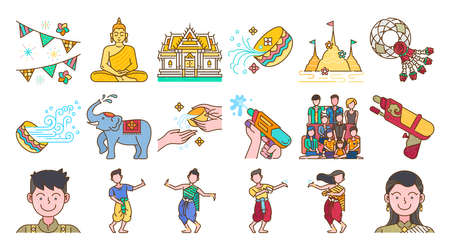 Songkran thailand festival colored line icon set Thai water splashing festive day, thai dancing traditional and cultural. Colorful vector and illustration.