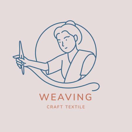 Weaving vector logo design. Line art minimal illustration. Woman working on weaving textile