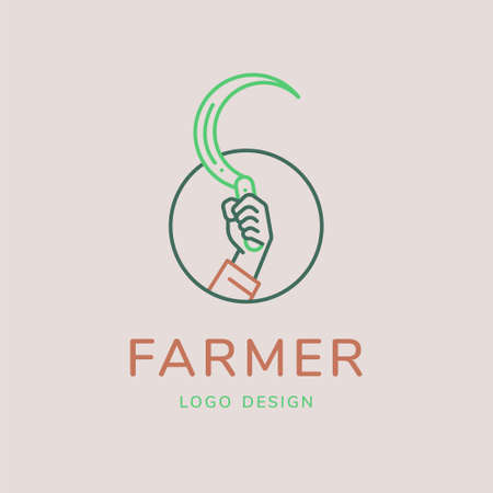 hand sickle vector illustration for agricultural concept. Minimal thin line style.