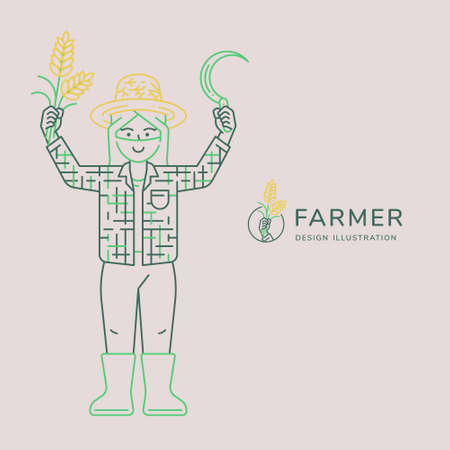Happy farmer illustration show hands up with rice and sickle vector illustration for agricultural concept. Minimal thin line art and three tone style. Vectores