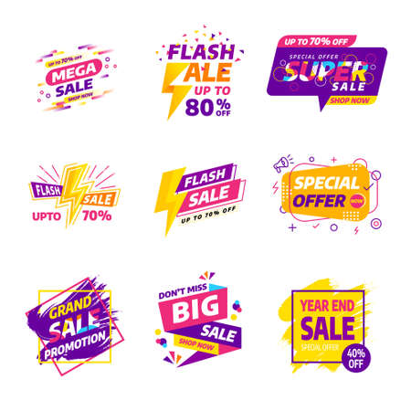Sale banner badges design template vector set. Various style colorful concepts,year end,summer,flash,grand sale promotion