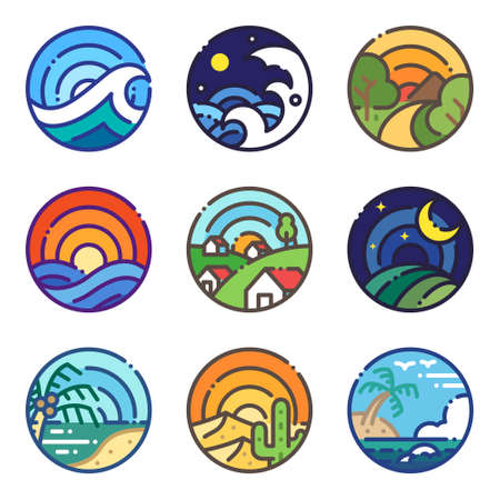 Landscape travel scene view colored line icon. Holiday trip illustration flat design style round shape.