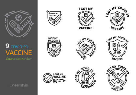 vaccination sticker design linear style. I got my virus vaccine concept. Vektoros illusztráció