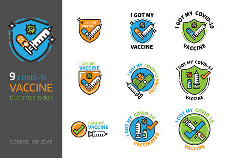 vaccination badge design colored line style. I got my virus 2019-nCov vaccine concept.