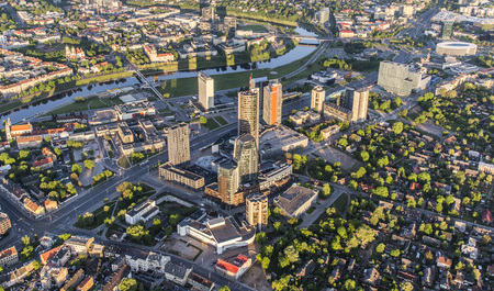 Aerial view of business district Snipiskes in Vilnius, Lithuania
