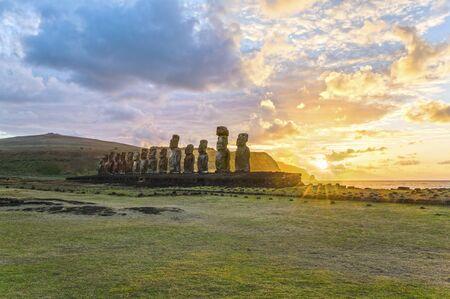 Moai Ahu Tongariki, Easter Island, Chile Stock Photo