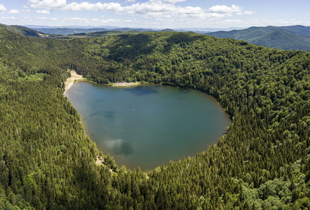 Aerial view of Saint Anne Lake in Romania