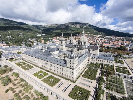 Aerial view of El Escorial monastery, Spain