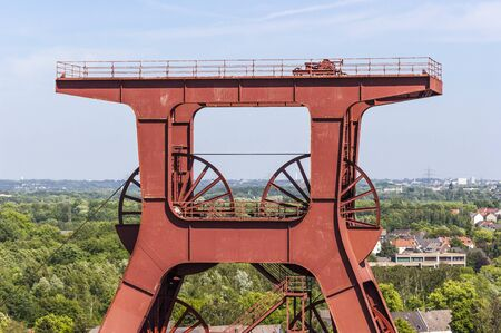 The winding tower of shaft 12 with inscription Zollverein is a well-known symbol of Essen and the whole Ruhr area Editorial
