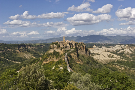 Aerial view of Civita di Bagnoregio town in Italy Editorial