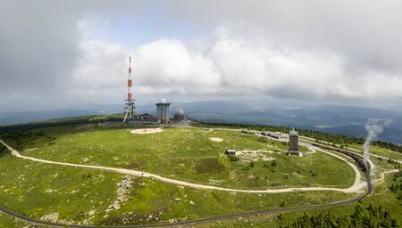 Aerial view of the Brocken mountain, the highest peak of the Harz mountain range and the highest peak of Northern Germany Editorial