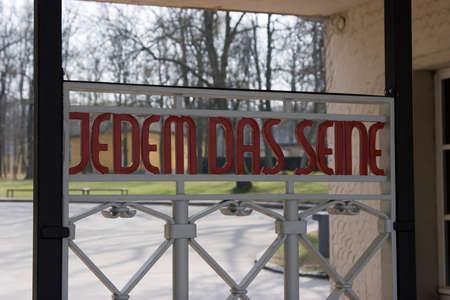Jedem das seine - words on the entrance gate to Buchenwald concentration camp