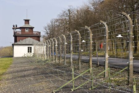 Prison fence at Buchenwald concentration camp. Germany Editorial