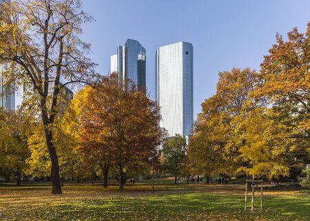 hessen: Beautiful city park in Frankfurt at autumn