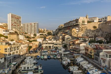 hovercraft: MARSEILLE, FRANCE - OCTOBER 02, 2017: The Vallon des Auffes - a little traditional fishing haven