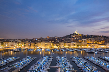 hovercraft: MARSEILLE, FRANCE - OCTOBER 02, 2017: Evening view of the old port of Marseille