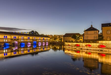 Evening view of the Barrage Vauban on the River Ill in the city of Strasbourg Stock Photo