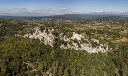 Aerial view of Oppede-le-Vieux, a ghost village in southeastern France Stock Photo