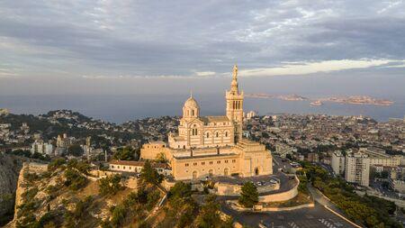 MARSEILLE, FRANCE - OCTOBER 02, 2017: Aerial view of Notre-Dame de la Garde, symbol of Marseille
