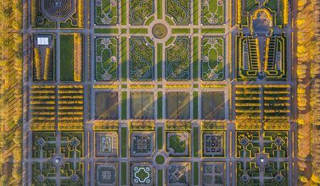 Aerial view of Herrenhausen Gardens in Hannover, Germany