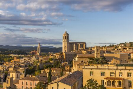 Beautiful evening view of the historical part of Girona