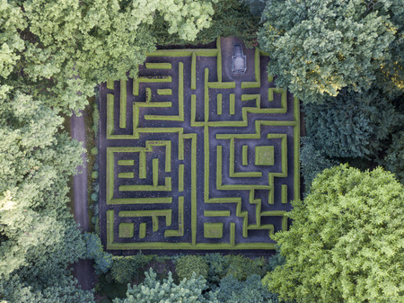 Aerial view of maze in the Anholt castle park, Germany