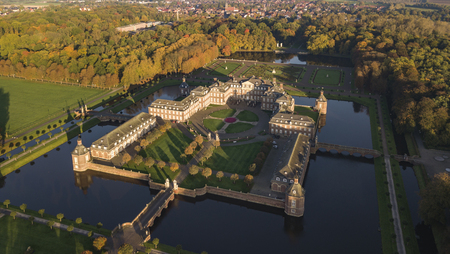 Aerial view of Nordkirchen moated castle in Germany known as the Versailles of Westphalia 報道画像