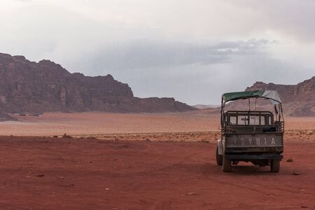 Wadi Rum desert, a valley cut into the sandstone and granite rock