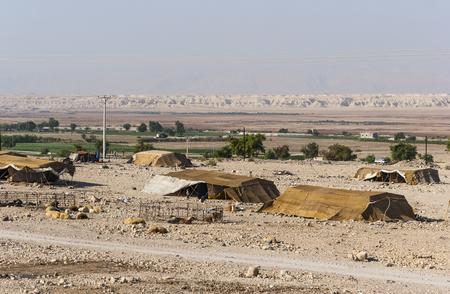 Bedouin houses in the desert near Dead Sea
