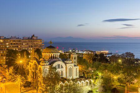 THESSALONIKI, GREECE - MARCH 30, 2018: Evening view of Thessaloniki Editorial